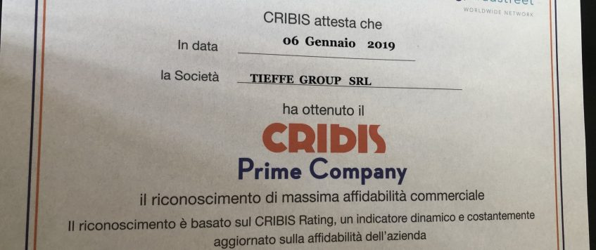 CRIBIS Prime Company CERTIFICATION to TieffeGroup for the 5th consecutive year